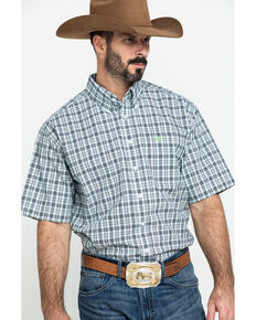 Cinch Men's White Small Plaid Short Sleeve Western Shirt , White, hi-res