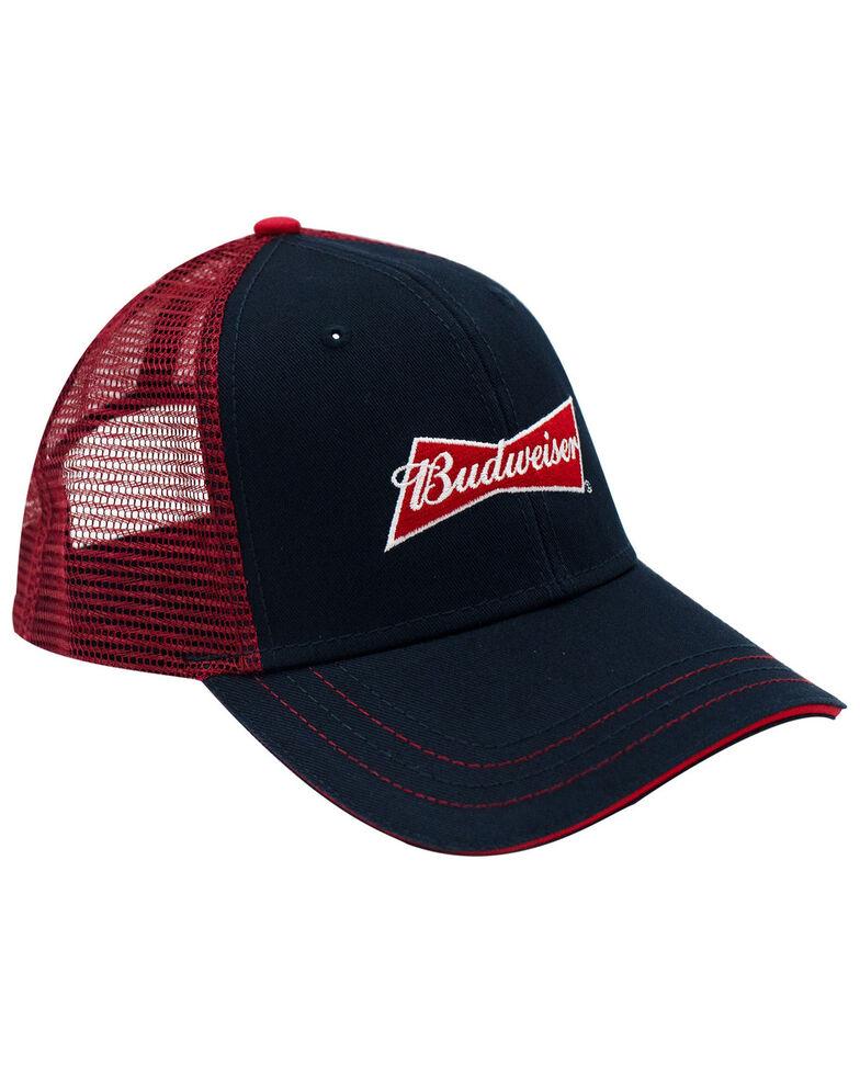 H Bar C Men's On Navy Budweiser Logo Embroidered Mesh Ball Cap , Navy, hi-res