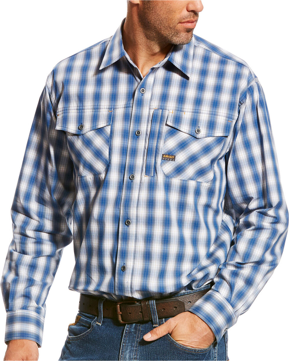 Ariat Men's Rebar Sully Plaid Long Sleeve Work Shirt, Turquoise, hi-res