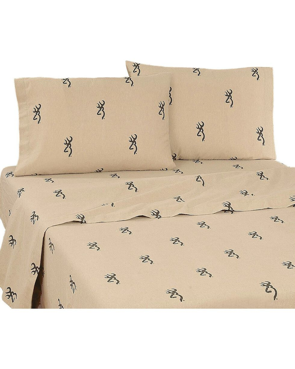 Browning Buckmark Twin Sheet Set, Brown, hi-res