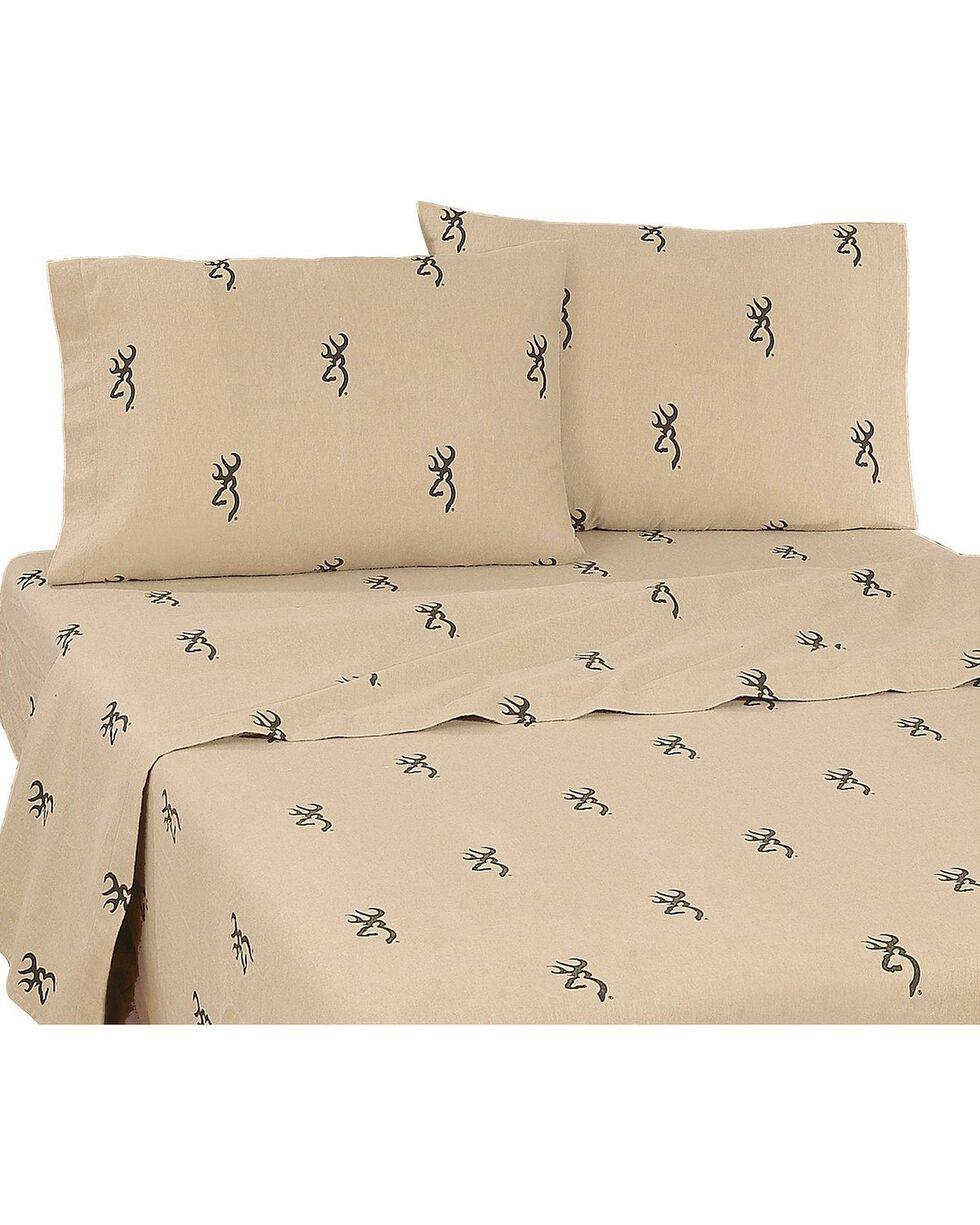 Browning Buckmark Queen Sheet Set, Brown, hi-res