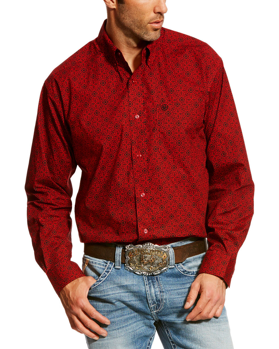 Ariat Men's Camero Geo Print Long Sleeve Western Shirt , Ruby, hi-res