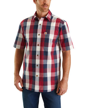 Carhartt Men's Red Essential Plaid Short Sleeve Work Shirt - Tall , Red, hi-res