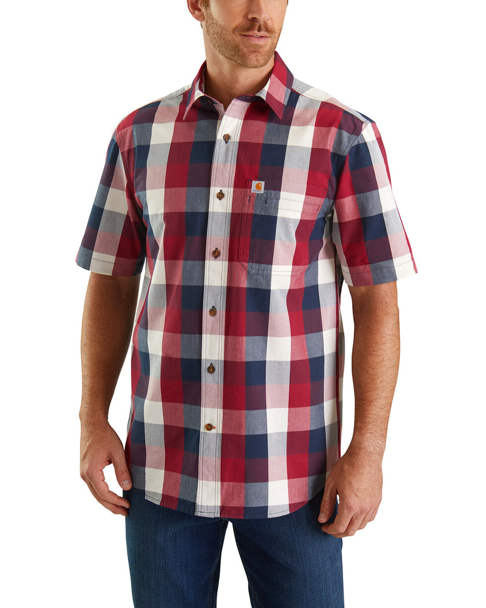 Carhartt Men's Red Essential Plaid Short Sleeve Work Shirt - Tall , Red, hi-res