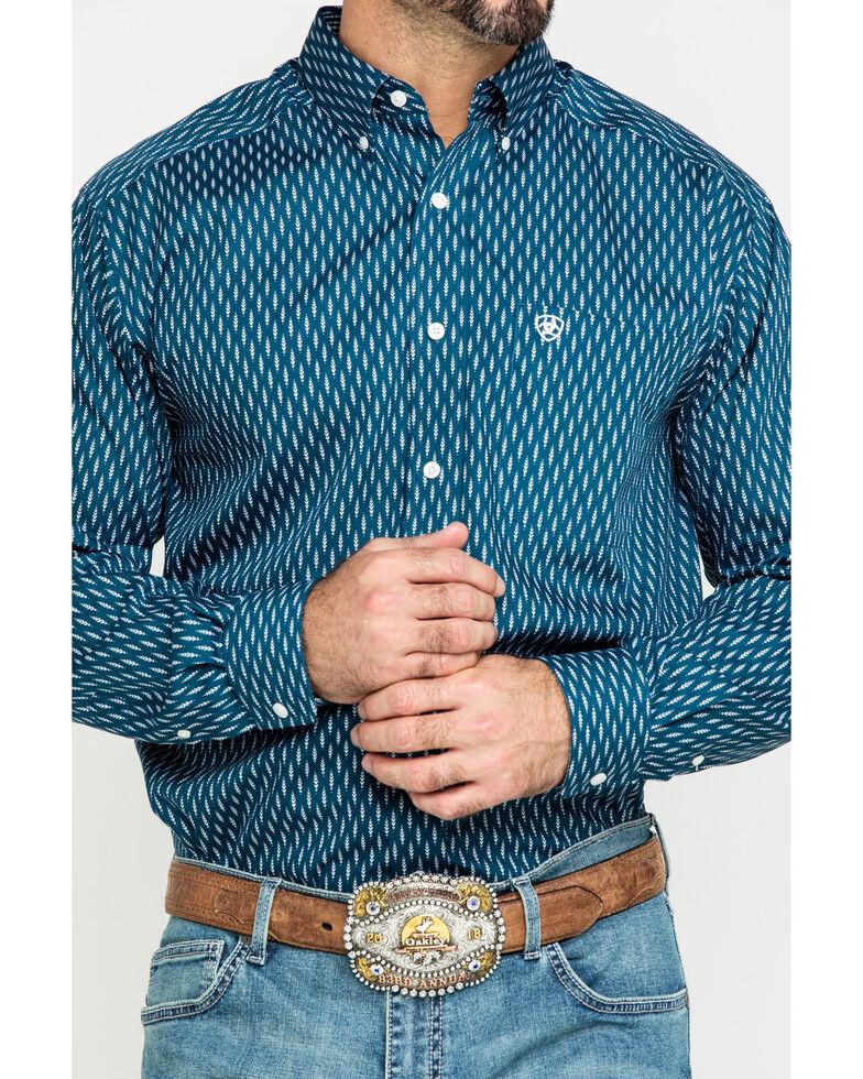 Ariat Men's Wrinkle Free Miramar Geo Print Long Sleeve Western Shirt - Tall , Navy, hi-res