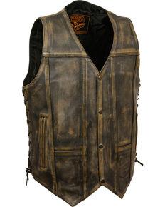Milwaukee Leather Men's Brown Distressed 10 Pocket Vest, Black/tan, hi-res