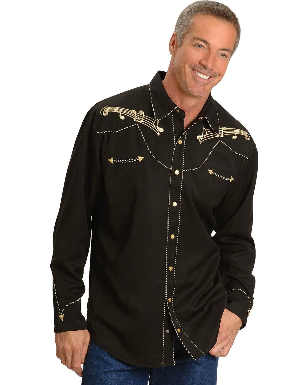 Scully Men's Retro Embroidered Music Note Western Shirt, Black, hi-res