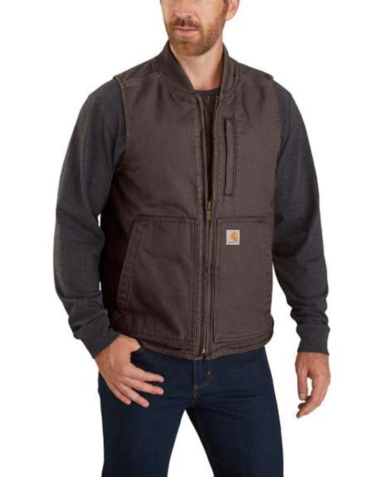 Carhartt Men's Dark Brown Washed Duck Insulated Rib-Collar Work Vest - Tall, Dark Brown, hi-res