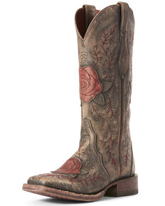 Ariat Women's Rosita London Fog Western Boots - Wide Square Toe, Dark Grey, hi-res