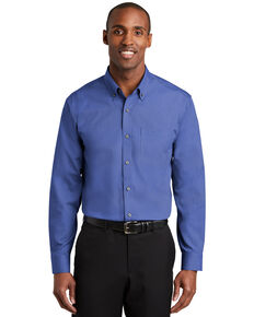 Red House Men's Mediterranean Blue 2X Nailhead Non-Iron Long Sleeve Work Shirt - Big & Tall, Blue, hi-res
