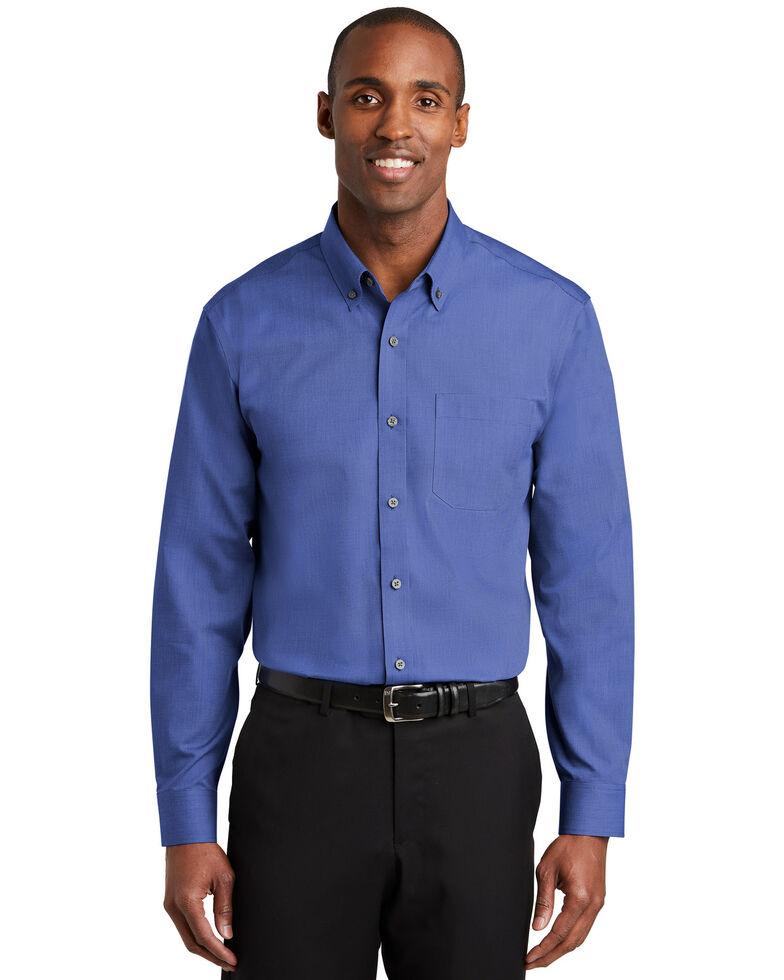 Red House Men's Mediterranean Blue 2X Nailhead Non-Iron Long Sleeve Work Shirt - Big & Tall, Blue, hi-res
