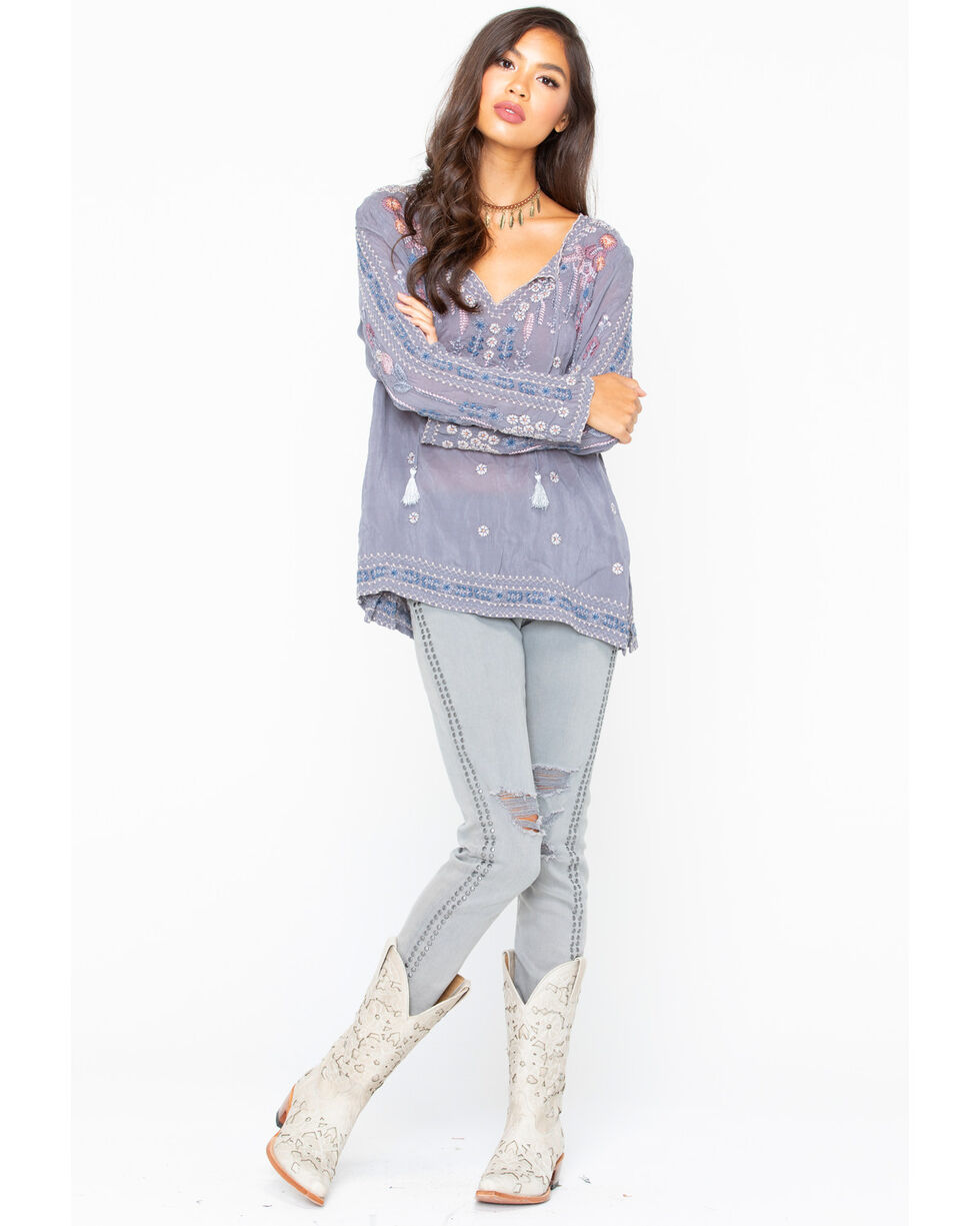 Johnny Was Women's Santorini Blouse , Charcoal, hi-res
