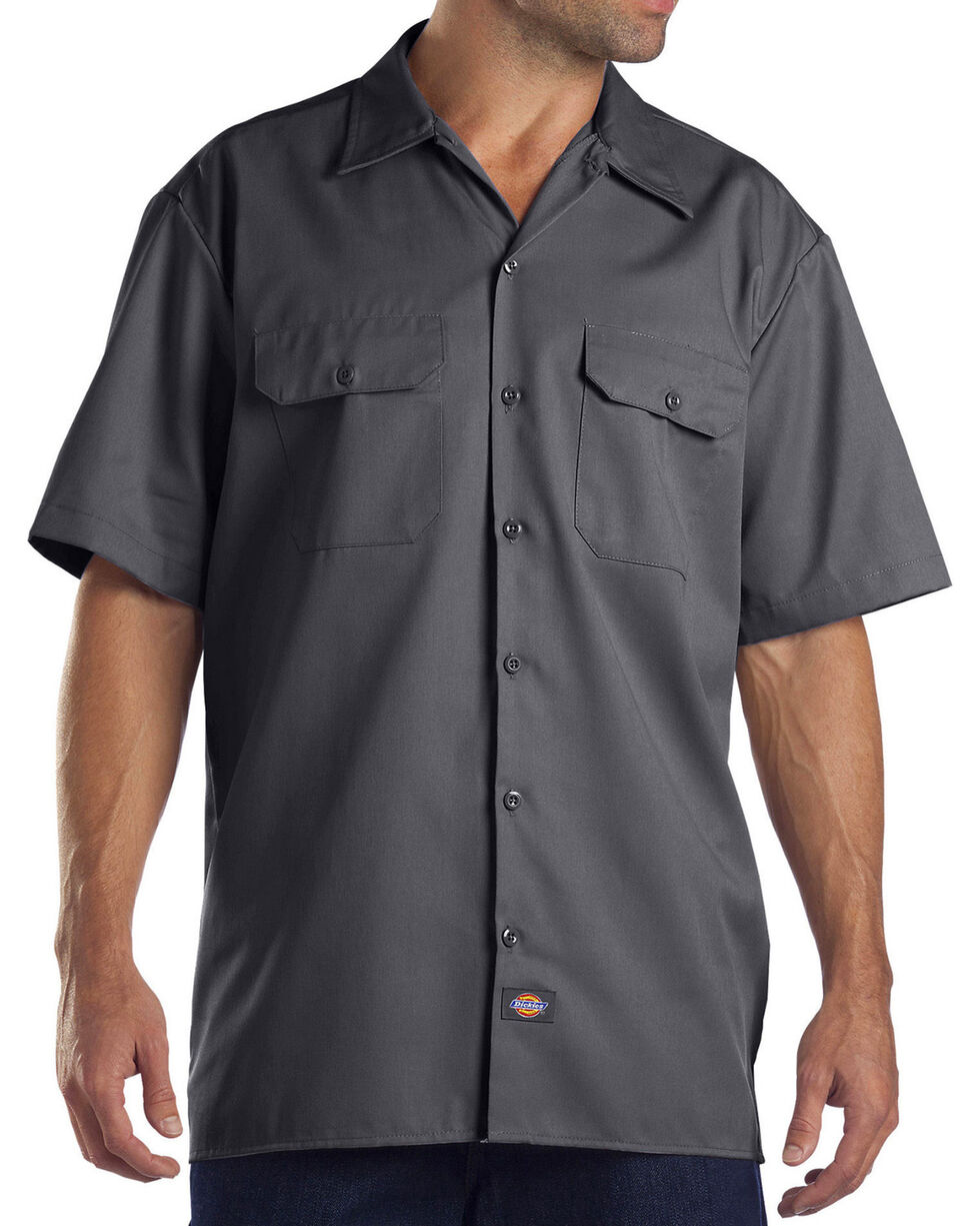Dickies Men's Charcoal Flex Twill Work Shirt , Charcoal, hi-res