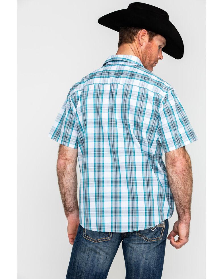 Gibson Men's El Torito Med Plaid Short Sleeve Western Shirt , Turquoise, hi-res