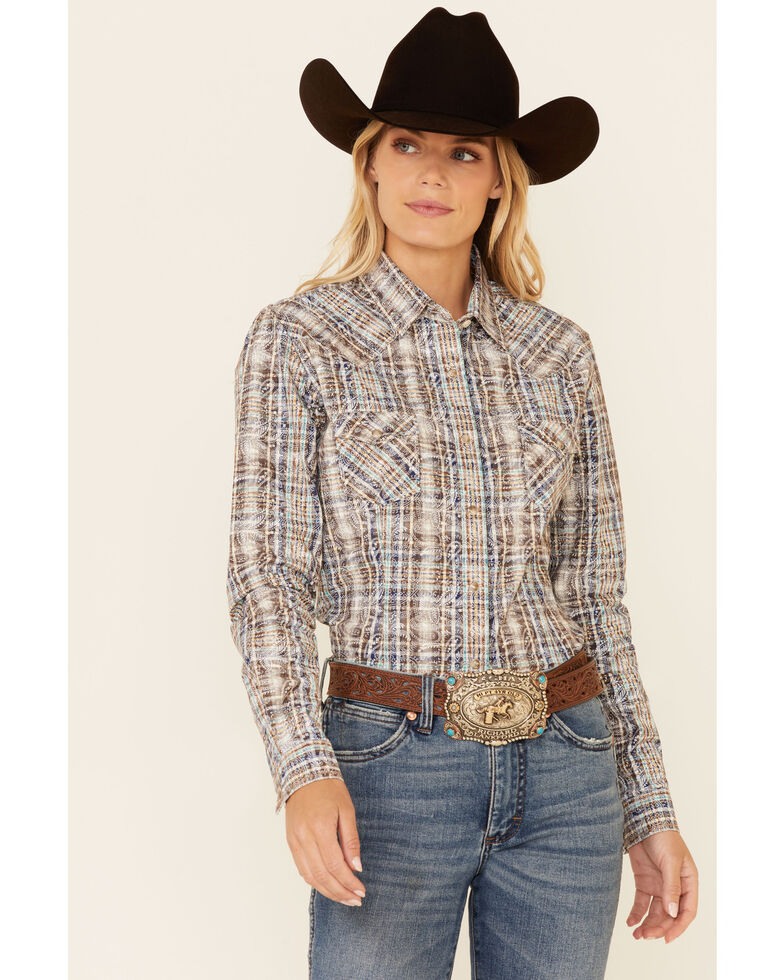 Rough Stock By Panhandle Women's Brown Paisley Plaid Long Sleeve Snap Western Core Shirt , Brown, hi-res