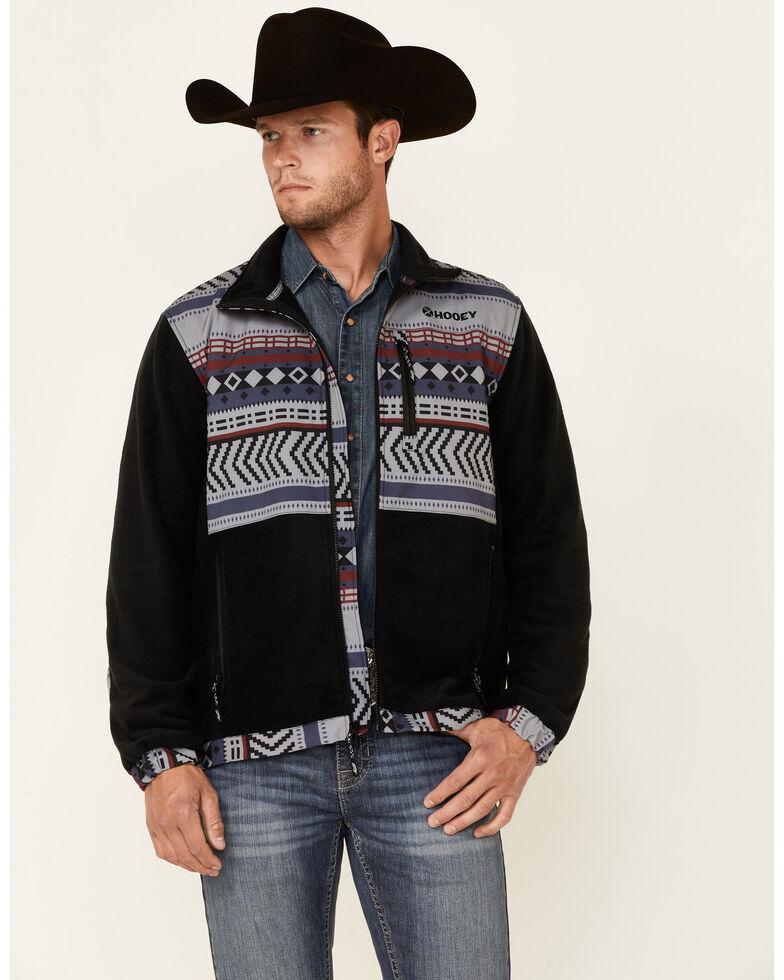 HOOey Men's Black & Blue Aztec Print Color-Block Zip-Front Tech Fleece Jacket , Black, hi-res