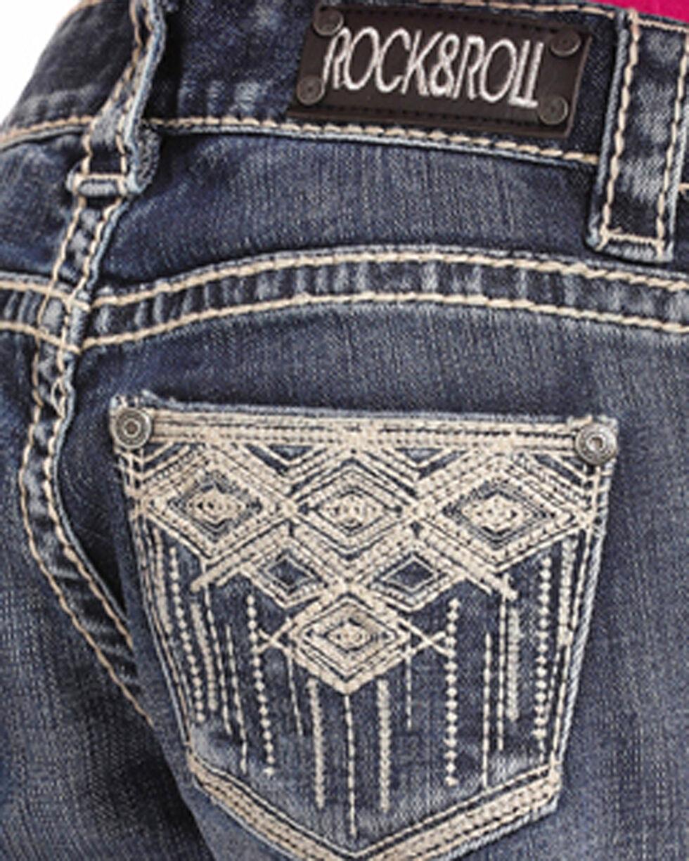 Rock & Roll Cowgirl Girls' Aztec Embroidered Medium Wash Jeans (4-16) - Boot Cut, Indigo, hi-res