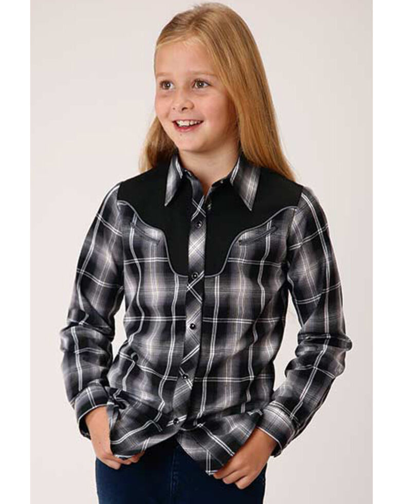 Roper Girls' Plaid Star Long Sleeve Western Shirt , Black, hi-res