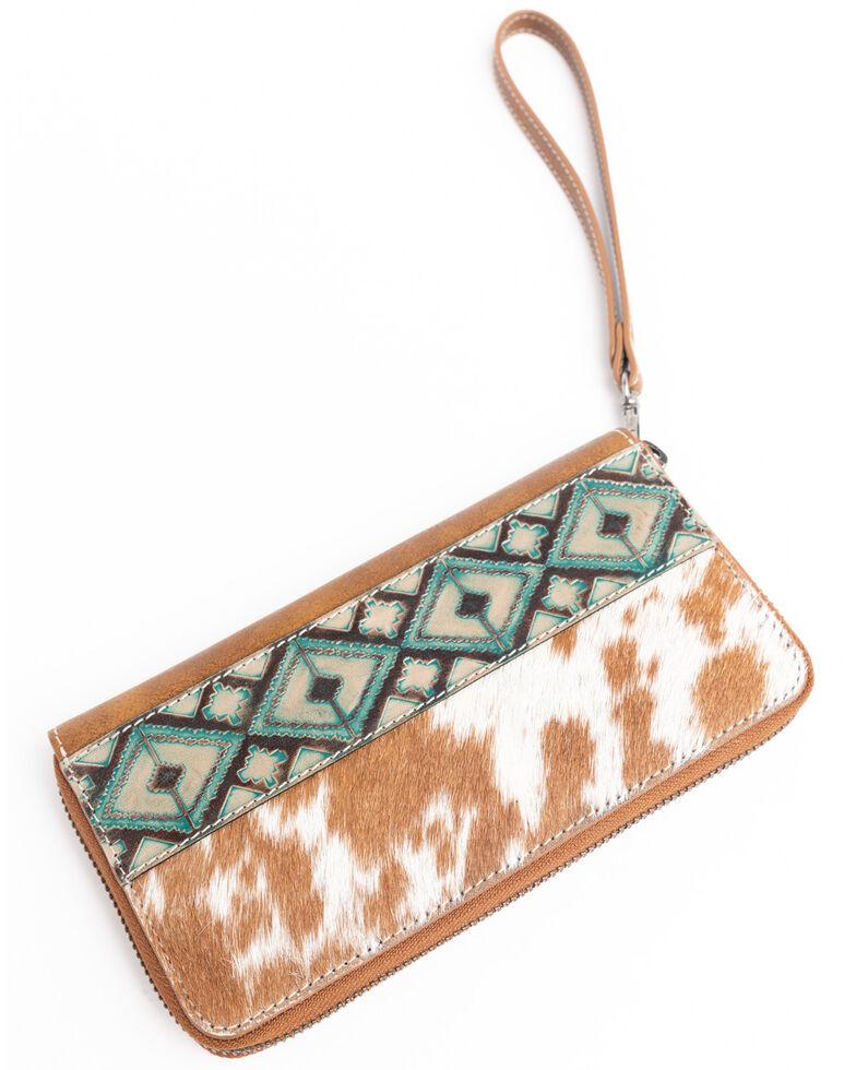Shyanne Women's Brindle Wallet With Aztec Panel, Tan, hi-res