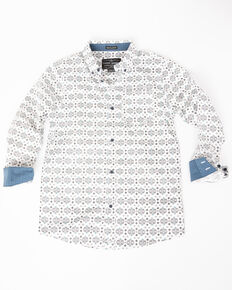 Cody James Boys' Serengeti Geo Print One Pocket Long Sleeve Shirt , White, hi-res