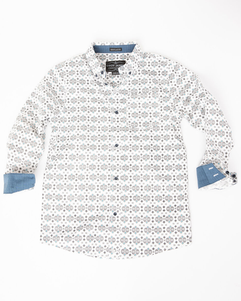 Cody James Boys' Serengeti Geo Print One Pocket Long Sleeve Shirt , White, hi-res