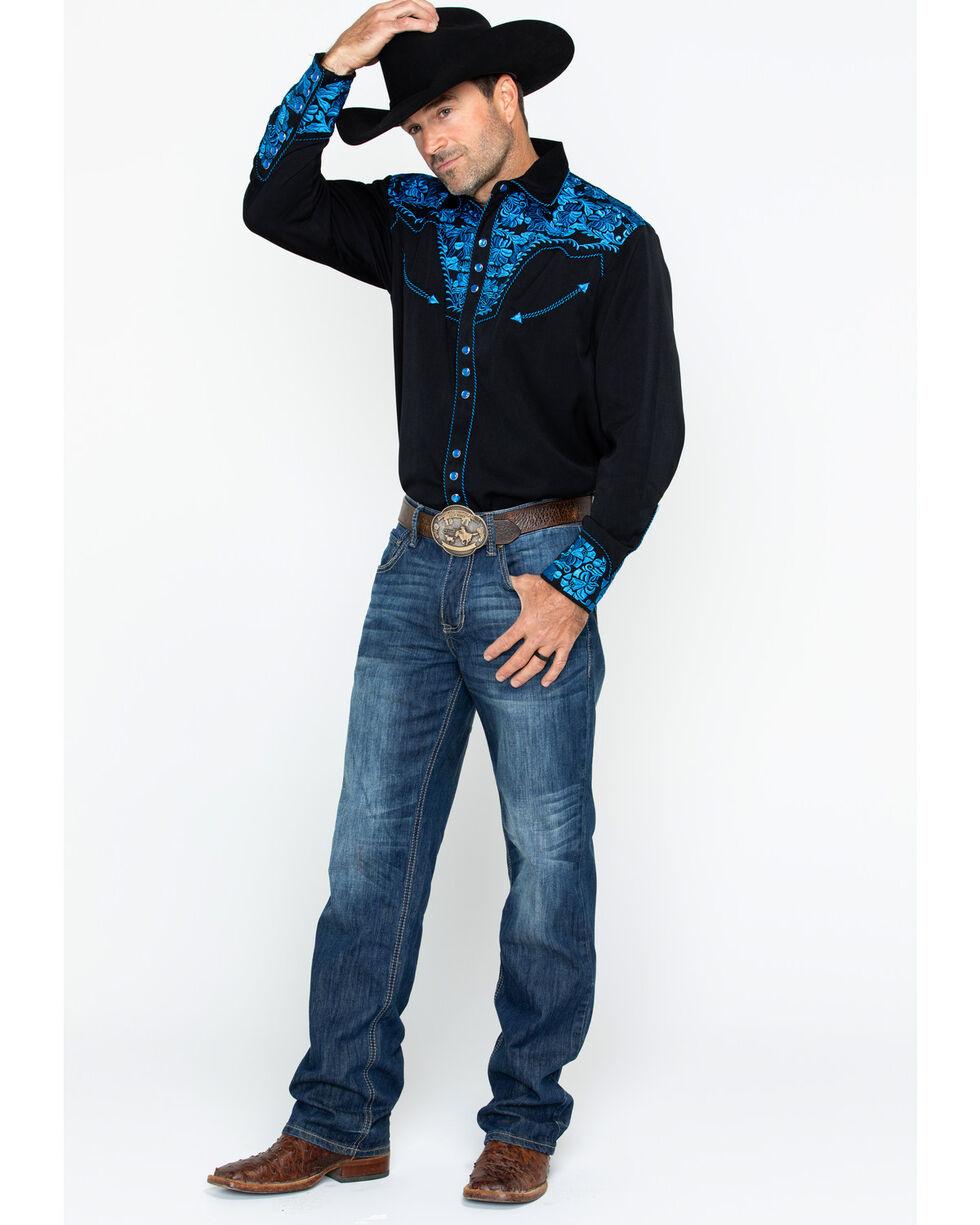 Scully Men's Western Woven Gunfighter Royal Shirt, Royal Blue, hi-res
