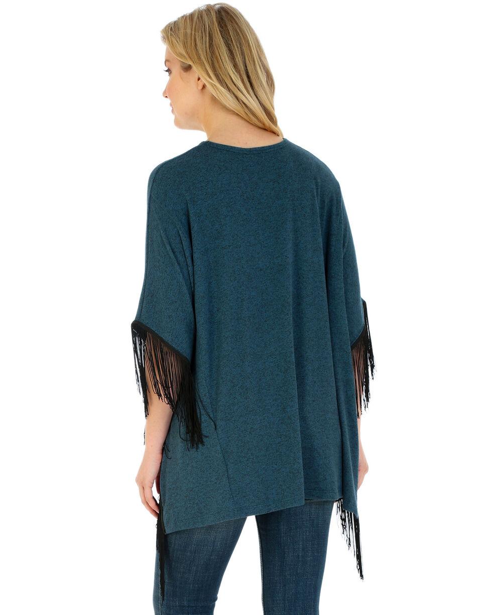 Wrangler Women's Fringe Poncho, Turquoise, hi-res