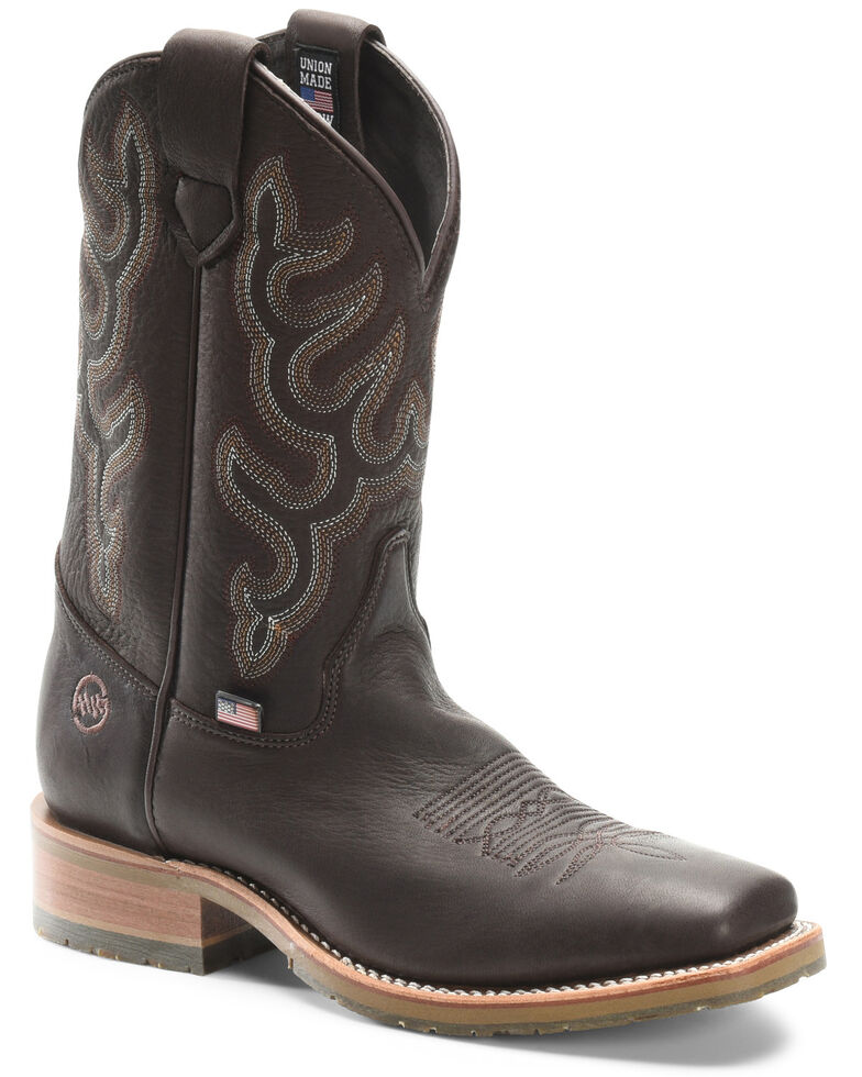 Double H Men's Dark Brown Elk Western Boots - Wide Square Toe, Chocolate, hi-res