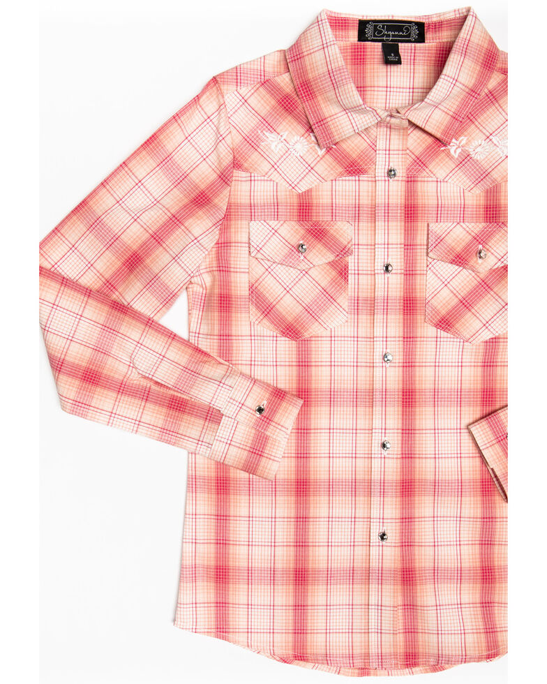 Shyanne Toddler Girls' Plaid Embroidered Long Sleeve Western Shirt, Pink, hi-res