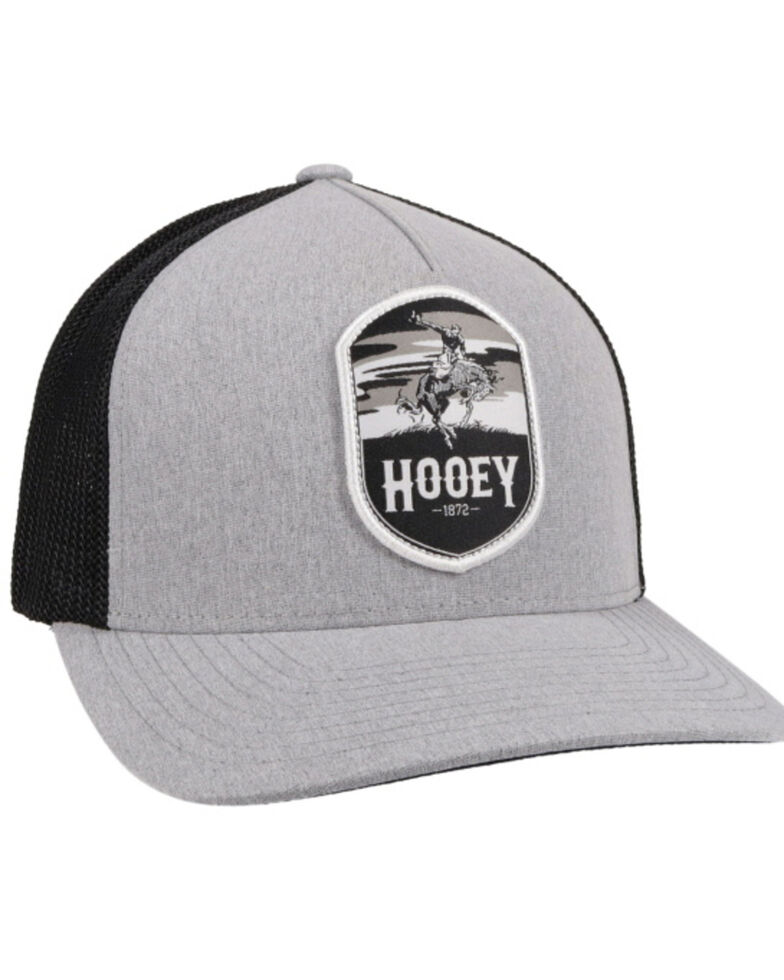 HOOey Boys' Grey Cheyenne Patch Flex Fit Mesh Ball Cap , Grey, hi-res