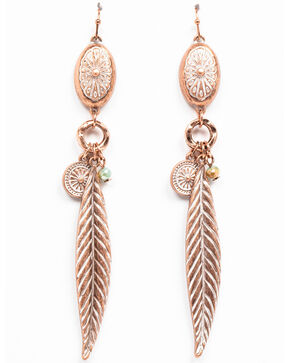 Shyanne Women's Wanderlust Mini Concho Feather Dangle Earrings, Tan/copper, hi-res