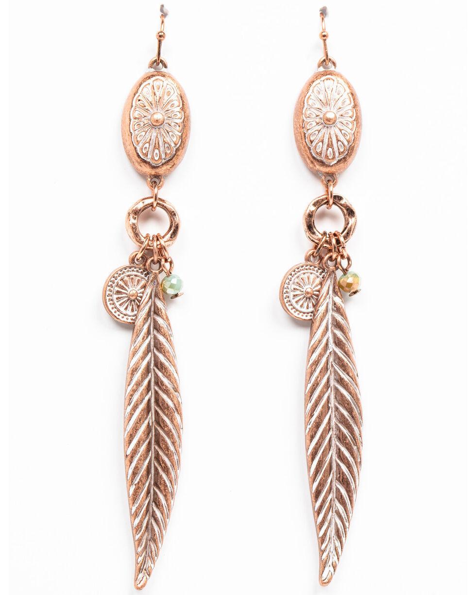 Shyanne Women's Wanderlust Mini Concho Feather Dangle Earrings, Tan/copper, hi-res