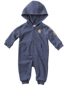 Carhartt Infant Boys' French Terry Hooded Coveralls , Indigo, hi-res