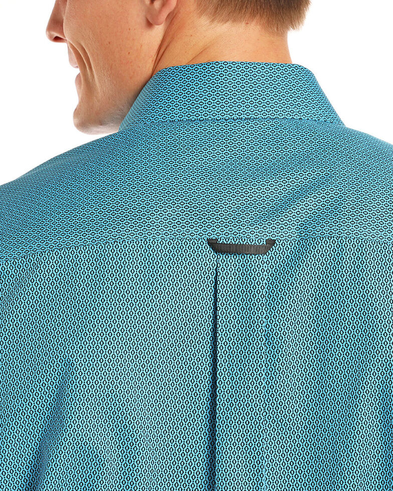 Tuf Cooper Men's Turquoise Competition Geo Print Long Sleeve Shirt , Turquoise, hi-res