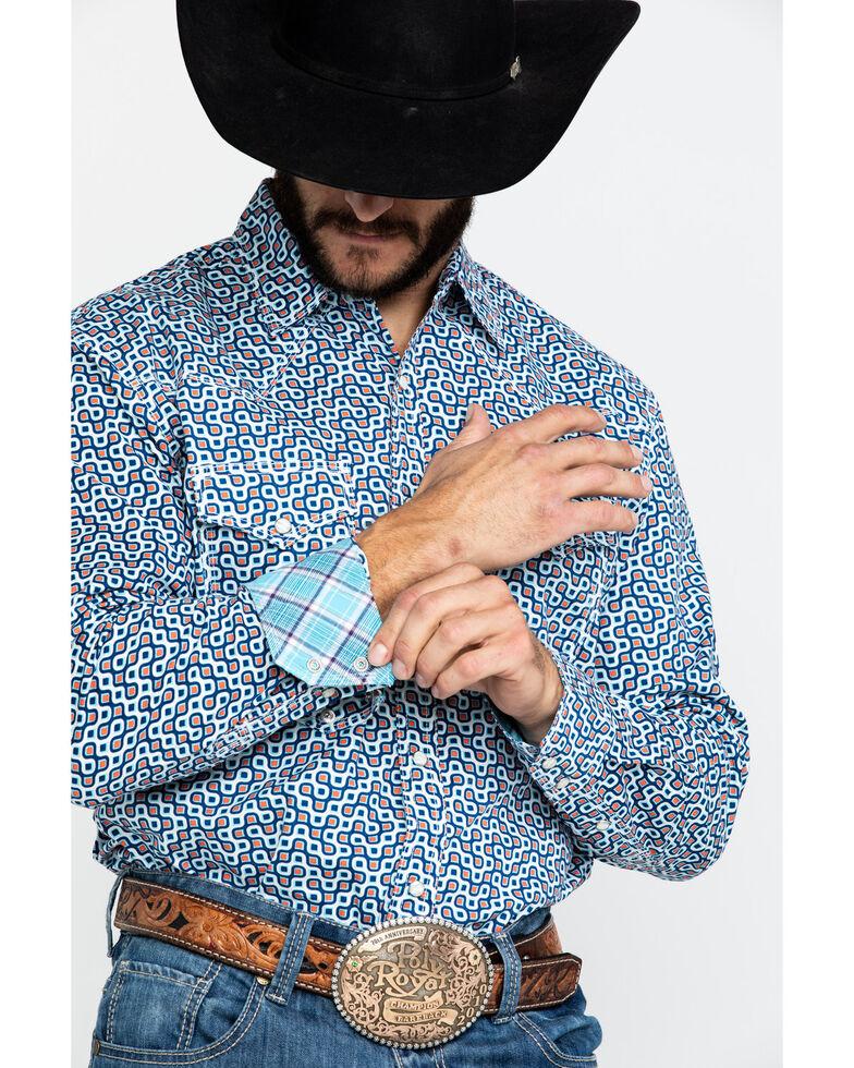 Wrangler 20X Men's Advanced Comfort Coral Geo Print Long Sleeve Western Shirt , Navy, hi-res