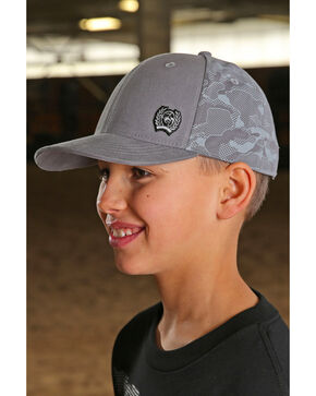 Cinch Boys' Geometric Camo Cap, Grey, hi-res