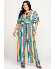 Flying Tomato Women's Aztec Print Jumpsuit - Plus, Multi, hi-res