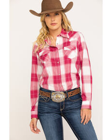 Wrangler Women's Burgundy Plaid Long Sleeve Western Shirt, Burgundy, hi-res
