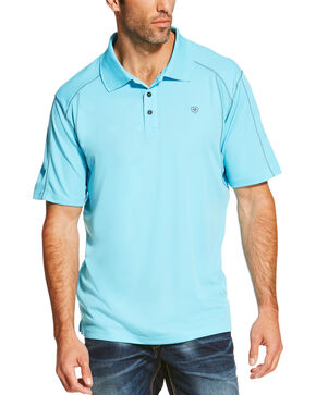 Ariat Tek Men's SPF Short Sleeve Polo, Aqua, hi-res