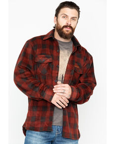 Outback Trading Co. Men's Plaid Fleece Big Shirt Jacket, Red, hi-res