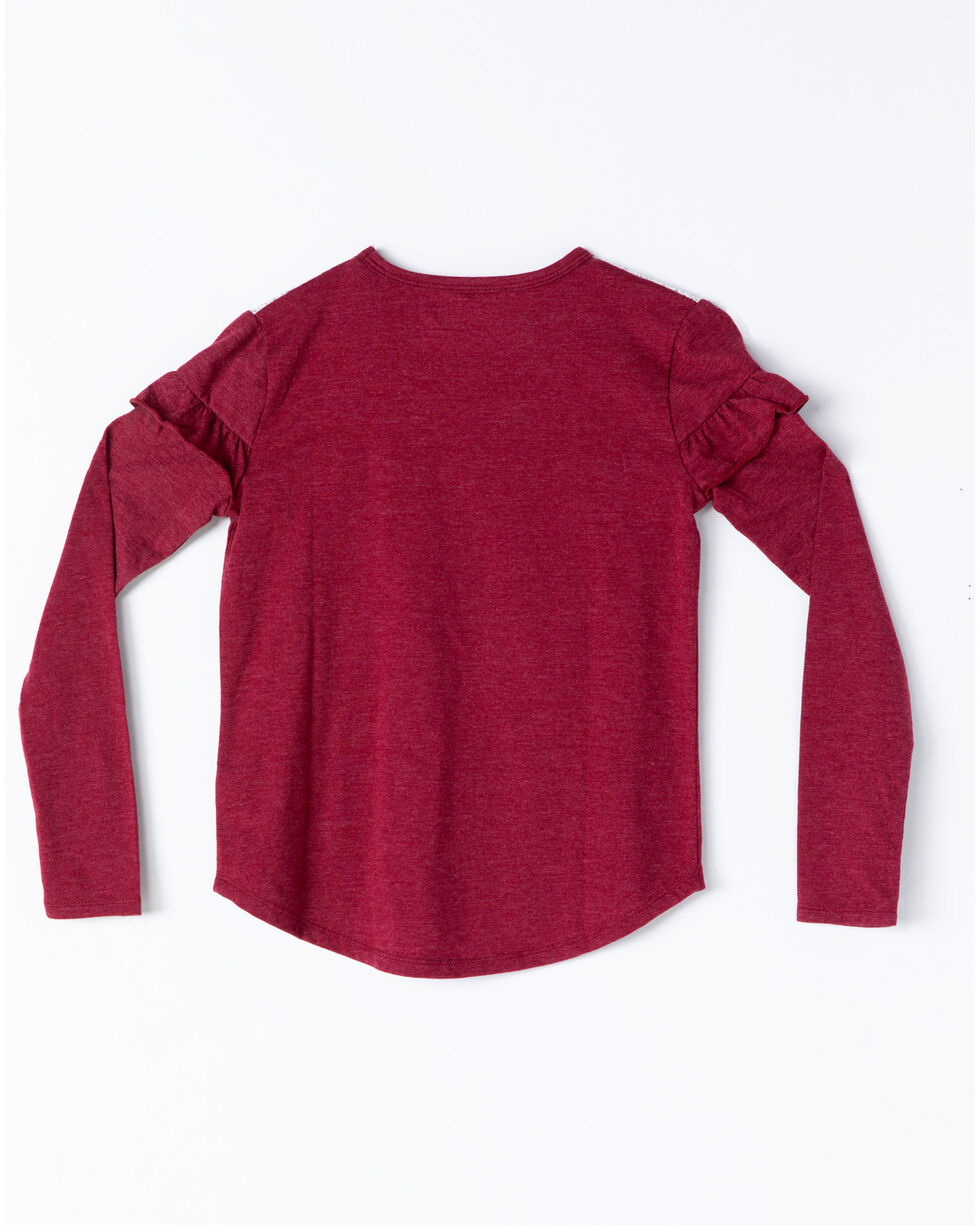Shyanne Girls' Stay Wild Graphic Lace Ruffle Long Sleeve Top , Burgundy, hi-res