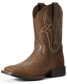 Ariat Youth Boys' Bully Brahma Western Boots - Wide Square Toe, Brown, hi-res