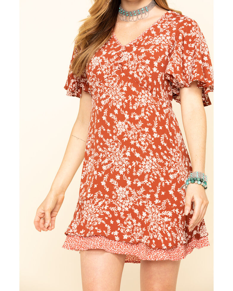 Angie Women's Rusty Ditsy Floral Short Sleeve Dress , Rust Copper, hi-res