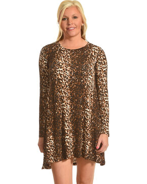 Derek Heart Women's Riva's Long Sleeve Leopard Swing Dress, Leopard, hi-res
