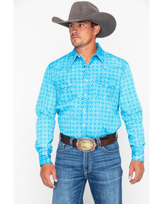 Rock & Roll Cowboy Men's Diamond Geo Print Long Sleeve Western Shirt , Turquoise, hi-res