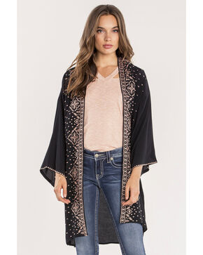 Miss Me Women's Border Printed Open Cardigan, Black, hi-res