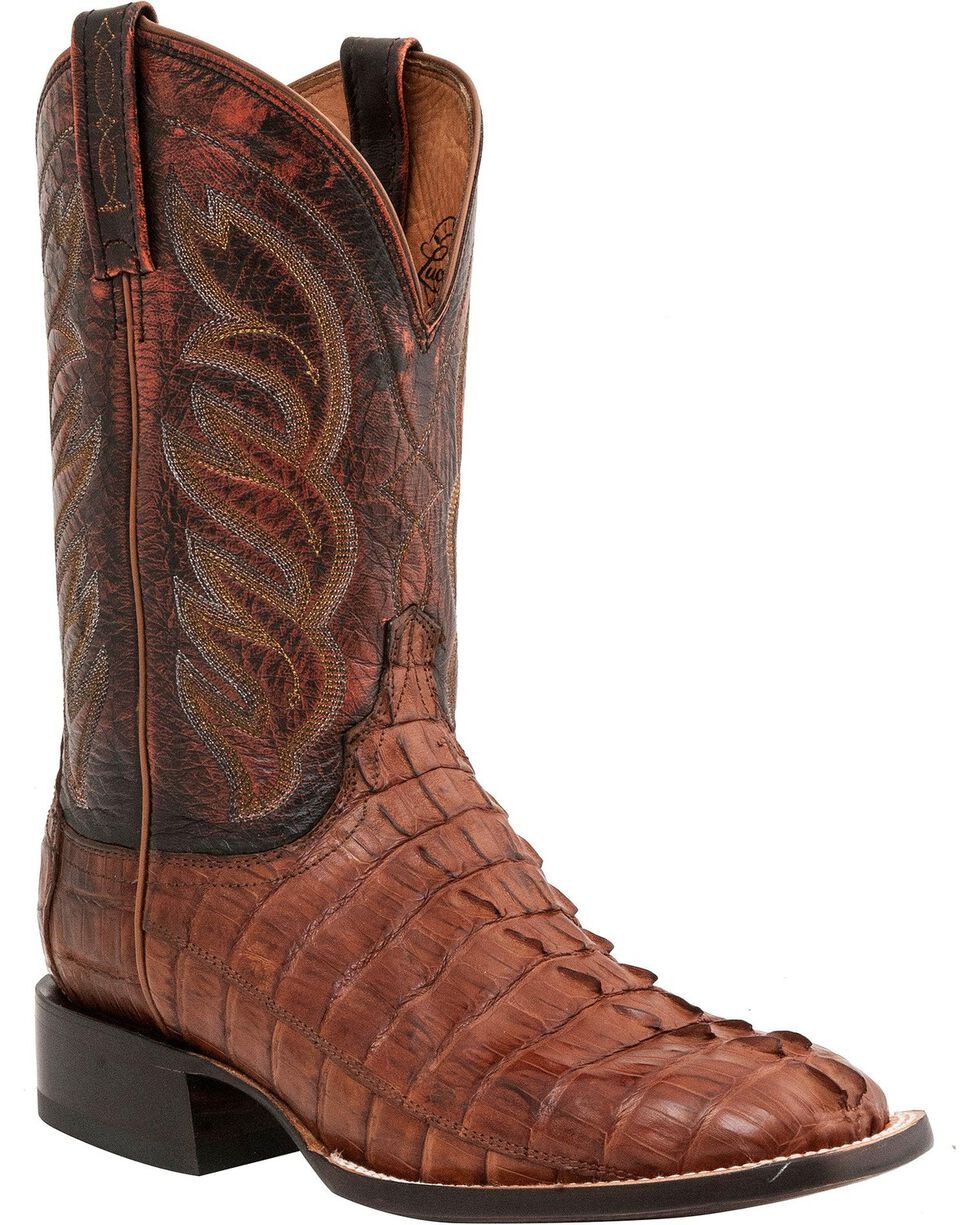 Lucchese Men's Hornback Caiman Tail Exotic Boots, Tan, hi-res