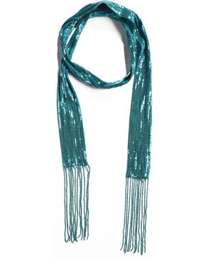 Shyanne Women's Turquoise Sequins Skinny Scarf, Turquoise, hi-res