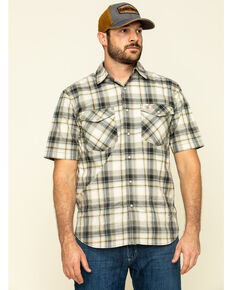 Carhartt Men's Olive Rugged Flex Bozeman Plaid Short Sleeve Work Shirt , Olive, hi-res