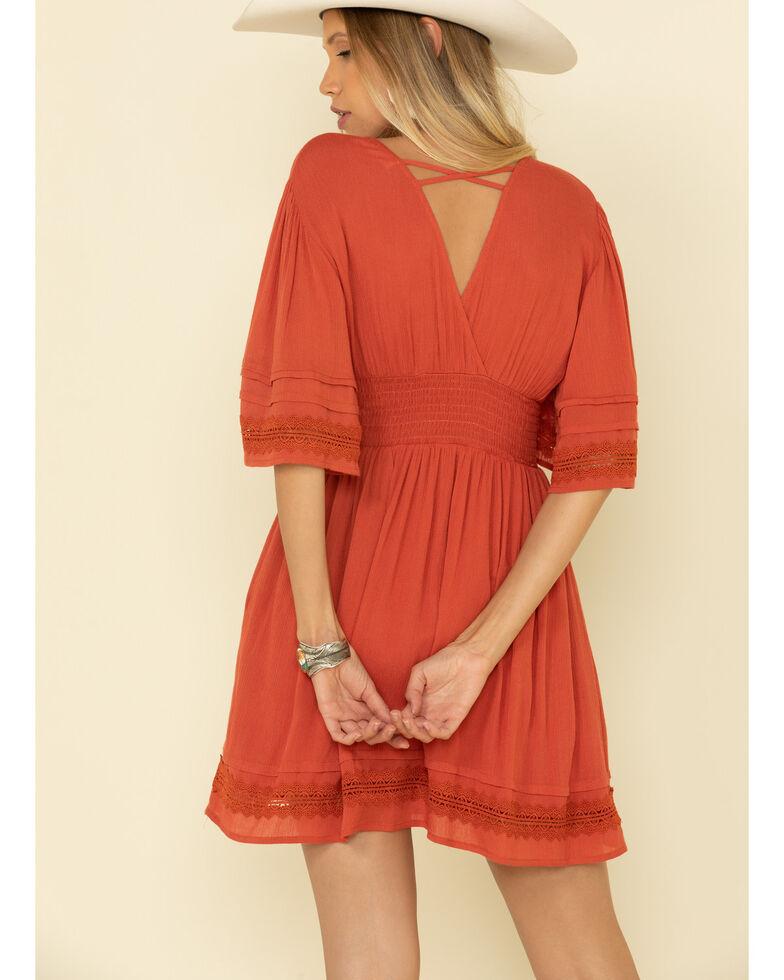 HYFVE Women's Rust Crochet Sleeve Dress, Rust Copper, hi-res